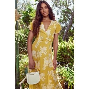HEART OF MARIGOLD YELLOW FLORAL WRAP MAXI DRESS